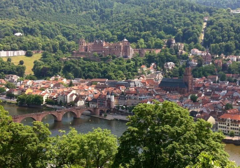 Heidelberg castle and old bridge from philosophenweg June 2015